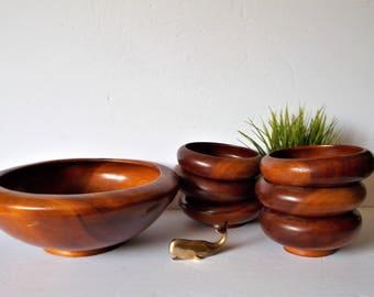 Teak Salad Bowl Set Vintage Teak Bowl Set Vintage Serving Wooden Bowls Tropical Serving