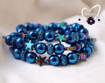 Women's Blue Star Beaded Bracelet | Star Bracelet | Star Jewelry | Bracelet | Stretch Beaded Bracelet | Sparkling Star Bracelet Gift For Her