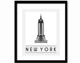 New York Poster, New York Print, Empire State Building, Retro Poster, New York Gift, New York Art, New York Wall Art, Black and White Decor