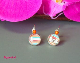 """Stud Earrings - 12 mm Cabochon - picture message """"I am one"""""""