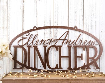 Family Name Metal Sign | Last Name Sign | Custom Sign | Personalized Sign | Metal Wall Art | Outdoor Sign | Name Sign | Wedding Gift