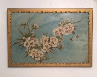 Antique oil painting Cherry Blossoms and Bees