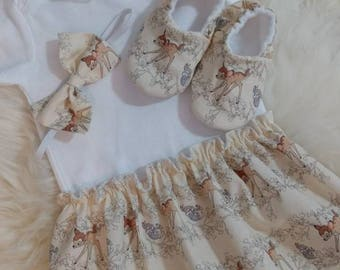 Bambi Bodysuit Baby Dress with matching headband, Baby dress, baby outfit