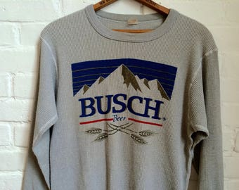 vintage 1980s Busch beer long sleeve thermal men's size XL extra large