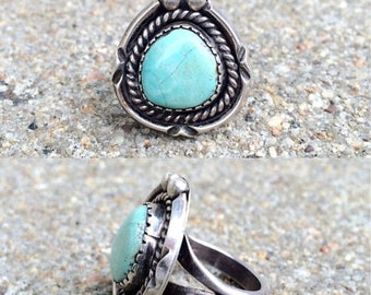 20% OFF vintage old pawn Native American sterling silver blue moon turquoise southwestern ring size 4.5
