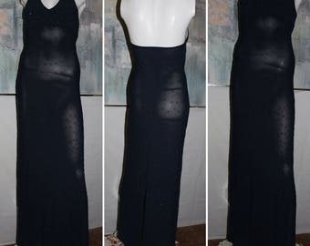 CACHE Maxi Dress Blue Sheath Shift Stretch Long Bodycon bead Size S