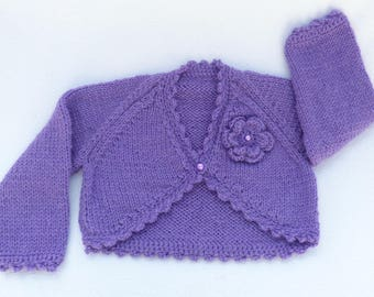 Knitted baby clothes, baby sweater. Hand knitted purple baby cardigan to fit 0 to 3 months, baby clothes, baby shower, baby gift. baby girl