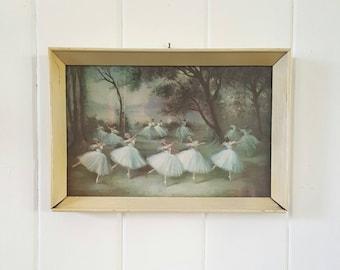 Framed Ballerina Print Wooden Frame 1960's