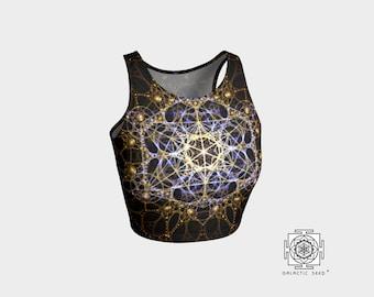 Yoga Crop top , Boho crop top , yoga bra , summer crop top , hippie crop top , metatron , activewear crop top , Sacred geometry , top