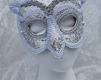 White Brocade Leather Owl Mask, White Silver Brocade Over Leather Venetian Style Owl Masquerade Mask