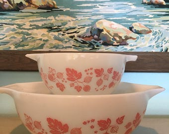 Set of Two Pink and White Pyrex Gooseberry Cinderella mixing nesting bowls