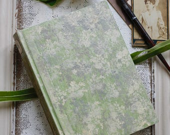 Sage green and ivory floral wedding guest book, vintage style scrapbook photo album, hand painted, 8.5x6 inches. Made To Order