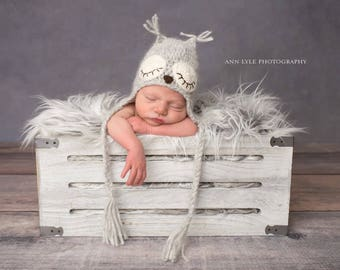 Newborn owl - Owl boys hat - Photo prop hat - Newborn props - Baby boy props - Photo prop owl - Baby boy props - Photo prop owl hat - Grey