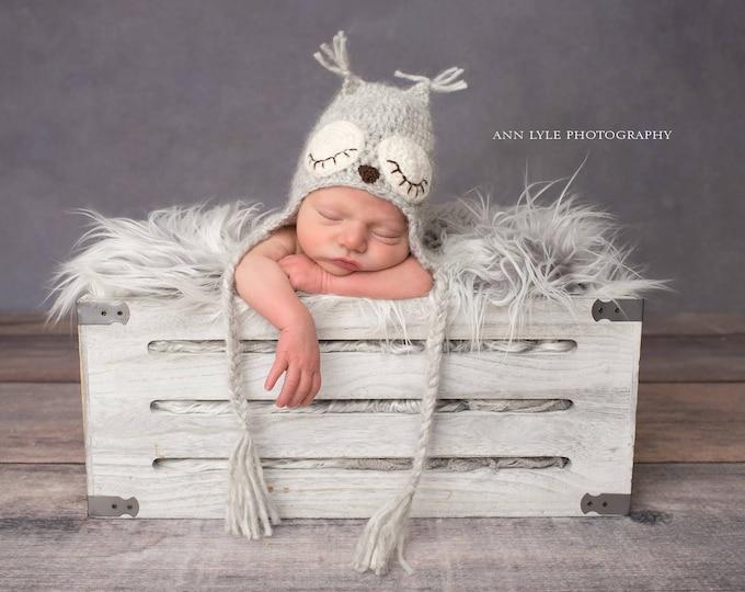 Featured listing image: Newborn owl - Owl boys hat - Photo prop hat - Newborn props - Baby boy props - Photo prop owl - Baby boy props - Photo prop owl hat - Grey