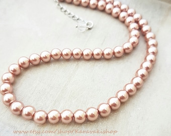 Simple Rose gold pearl wedding necklace,Rose gold necklace bridesmaid gift,Rose gold jewelry,Rose gold wedding jewelry,Rose gold necklaces