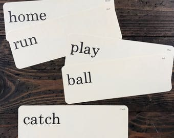 baseball set • home run | play ball | catch • vintage flash card set • Dick and Jane flashcards • Allyn and Bacon word cards • set of five