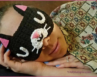 Handmade Crocheted Feline Rested Sleep Mask Ready to Ship