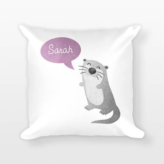 Custom Name Pillow, Otter Pillow, Personalized Pillow, Birthday Gift for Her, Kids Room Decor, Animal Throw Pillow, Decorative Pillow