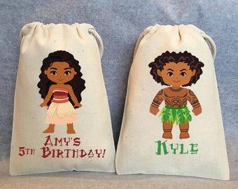 """12- Moana birthday, Moana party, Moana party supplies, Moana, Maui, Moana party supplies, Moana party favor bags bags,5""""x8"""""""