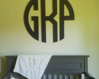 Large Wooden Monogram Wall Hanging, Nursery Decor, Wooden letters, Circle Monogram decor, Boy Nursery