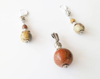 Ornament pendant and Picasso Jasper earrings