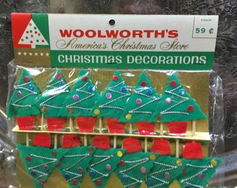 Vintage Christmas Tree Decoration Unopened Package of 12 Woolworth's Mid-century Ornament