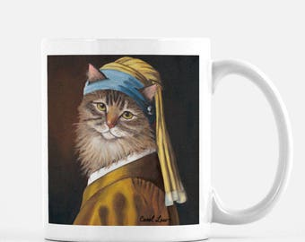 """Best Cat Lover Gift, Cat Lover Gift Mug, Cat Lovers Gift Mug, """"Cat With a Pearl Earring"""""""