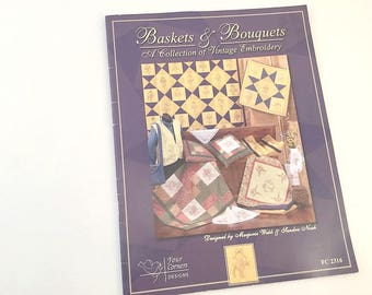 Vintage Embroidery, Embroidery Book, Embroidery Pattern, Basket Quilt, Quilt Pattern, Baskets Bouquets, Vest Pattern, Handkerchief Pattern