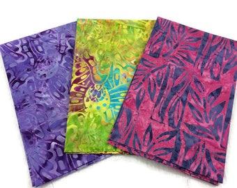 Indonesian Batik Print Fabric--FAT QUARTER BUNDLE--Hand Dyed Indonesian Fabric--Assorted Pattern--Assorted Colors--3-Pack Fat Quarter Bundle