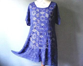 Crochet blue tunic, asymmetric tunic, boho bohemian tunic, summer crochet dress, royal blue lace tunic, women clothes, plus size tunic