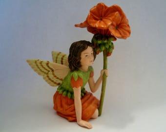 Geranium Fairy - Flower Fairy - Fairy Garden - Terrarium - Miniature Gardening - Accessories - Cicely Mary Barker Fairy