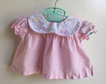 VTG Babyfair Pink Salior Dress Nautical Striped Sz 0-6M