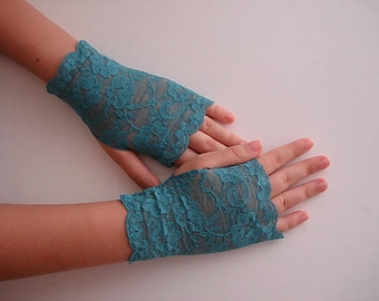 Turquoise Lace Gloves, Blue Green Lace fingerless gloves. Wedding Gloves Lace Mittens Short Armwarmers
