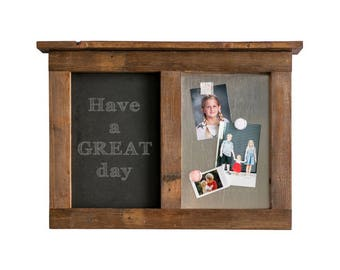 Message Center with Chalkboard and Magnet Board