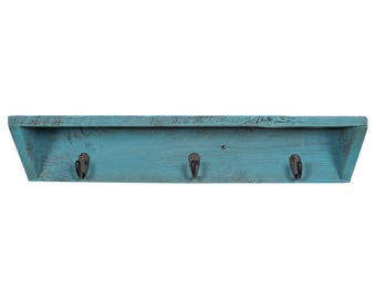 Wood Entry Way Shelf with Key Hooks | Handmade from Real, Reclaimed Wood - Turquoise