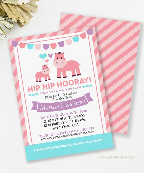 Hippo invitation hippo baby shower hippo couples shower girl baby il570xn filmwisefo