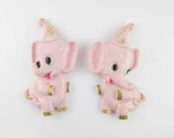 For Babies or Bathrooms - Wall Art - Two Pink Elephants With Gold Detailing - Classic 1970s Decor - Plastercast - Chalkware Elephants