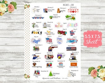 WH18 US National Holiday Planner Stickers, 2018, National Day Stickers, Holiday Stickers, National Yearly Holiday Stickers