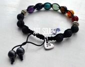 Black Personalized Chakra Bracelet