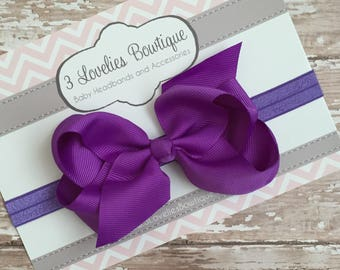 Purple Headband..Bow Headband..Baby Bow..Baby Bow Headband..Baby Girl Headband..Purple Headband..Baby Headband..Infant Headband..Hair bow