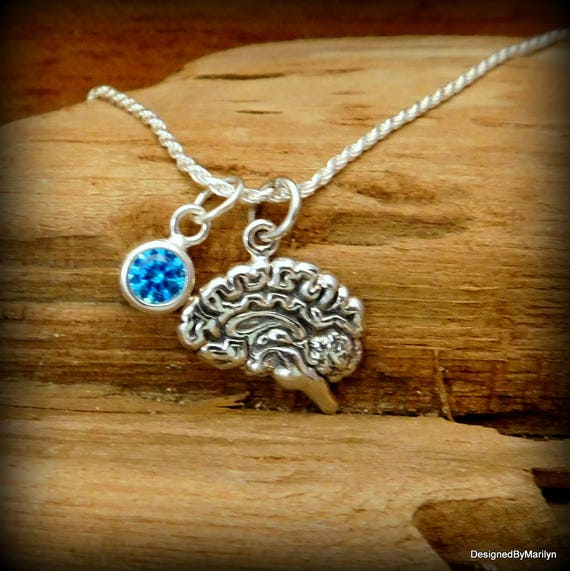 Sterling silver brain and birthstone necklace, psychological jewelry, brain cancer, life like brain, AVM tumor
