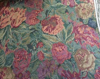 "Tulip & Floral Tapestry Upholstery Fabric 2 yards + 14"" Burgundy and Greens"
