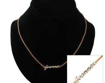 """Script Name Joanne Charm Pendant Gold Tone Necklace 16"""" Vintage 70s"""