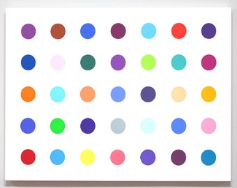 22x30 dot painting in the style of Damien Hirst