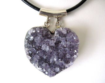 Amethyst druzy pendant on leather necklace