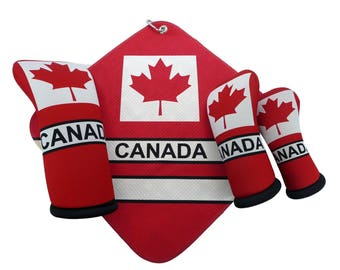CANADA FLAG Golf Head Covers matching microfiber Towel Made in the USA