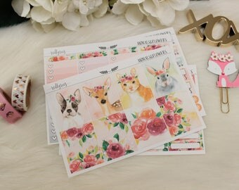 Animals&Flowers Mini Kit, Planner Stickers, Planner Supplies