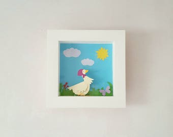 "Frame white wooden ""Madame Goose"" 21 x 21 cm"