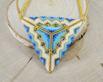 Christmasinjuly 3D Blue gold Triangle pendant necklace Crystal beads Unusual necklace seed beads beading peyote stitch Beadwork Summer boho