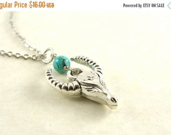 25% OFF SALE Longhorn Cow Skull Necklace, Steer Head Necklace, Southwestern Cow Pendant